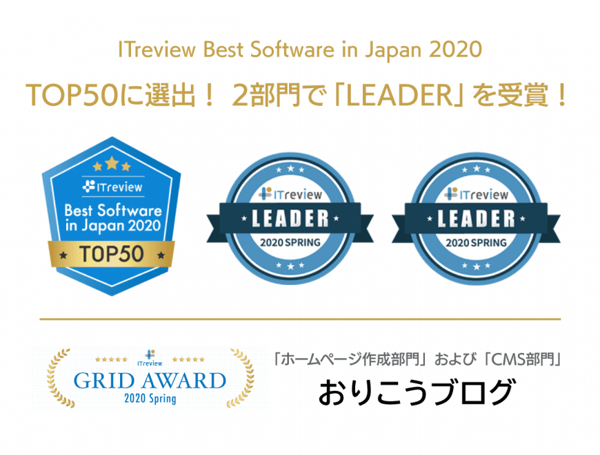 ITreview Best Software in Japan 2020 TOP50に選出! 2部門で「LEADER」を受賞!
